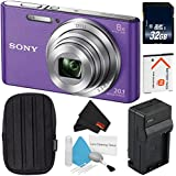 6Ave Sony Cyber-shot DSC-W830 Digital Camera (Purple) (International version) + Small Case + 32GB SDHC Class 10 Memory Card + NB-BN1 Lithium Ion Battery + External Rapid Charger Bundle