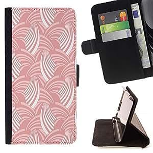For Apple Apple iPhone 4 / iPhone 4S Case , Blanco Rosa raya el modelo del arte del papel pintado- la tarjeta de Crédito Slots PU Funda de cuero Monedero caso cubierta de piel