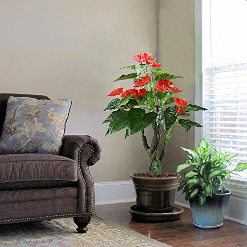 GTIDEA GTidea 3.3 Feet Artificial Tree Anthurium Flowers Decorative Silk  Plants Home Office Arrangements Indoor Outdoor Greenery Decor, Green, Red Part 96