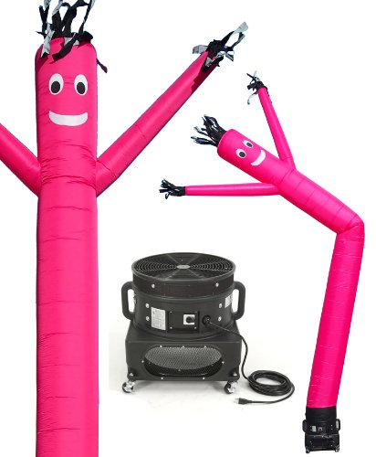 - LookOurWay Air Dancers Inflatable Tube Man Complete Set with 1 HP Sky Dancer Blower, 20-Feet, Pink