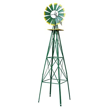 Super Deal 8u0027 Iron Windmill Ornamental Garden Weather Resistant Weather  Vane (Green)