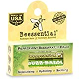Beessential All Natural Peppermint Lip Balm (Buzz Balm) 2 pack - Heals and Prevents Dry and Chapped Lips - Great for Men, Women, and Children - Moisturizing Beeswax, Coconut, Shea and Cupuacu Butter