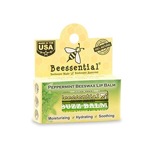Beessential Buzz Beeswax Lip Balm, Peppermint, 0.15 Ounce
