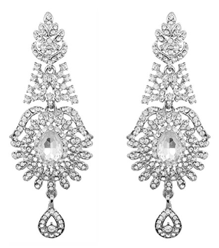 Touchstone Indian Bollywood Rhinestone long bridal chandelier designer jewelry earrings for women in silver tone