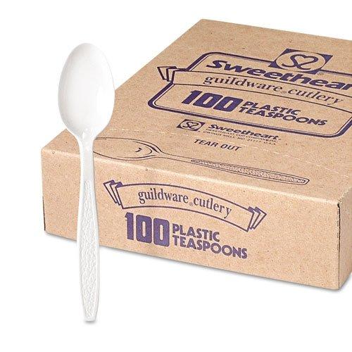 Guildware Extra Heavyweight Plastic Teaspoons, White, 100/Box