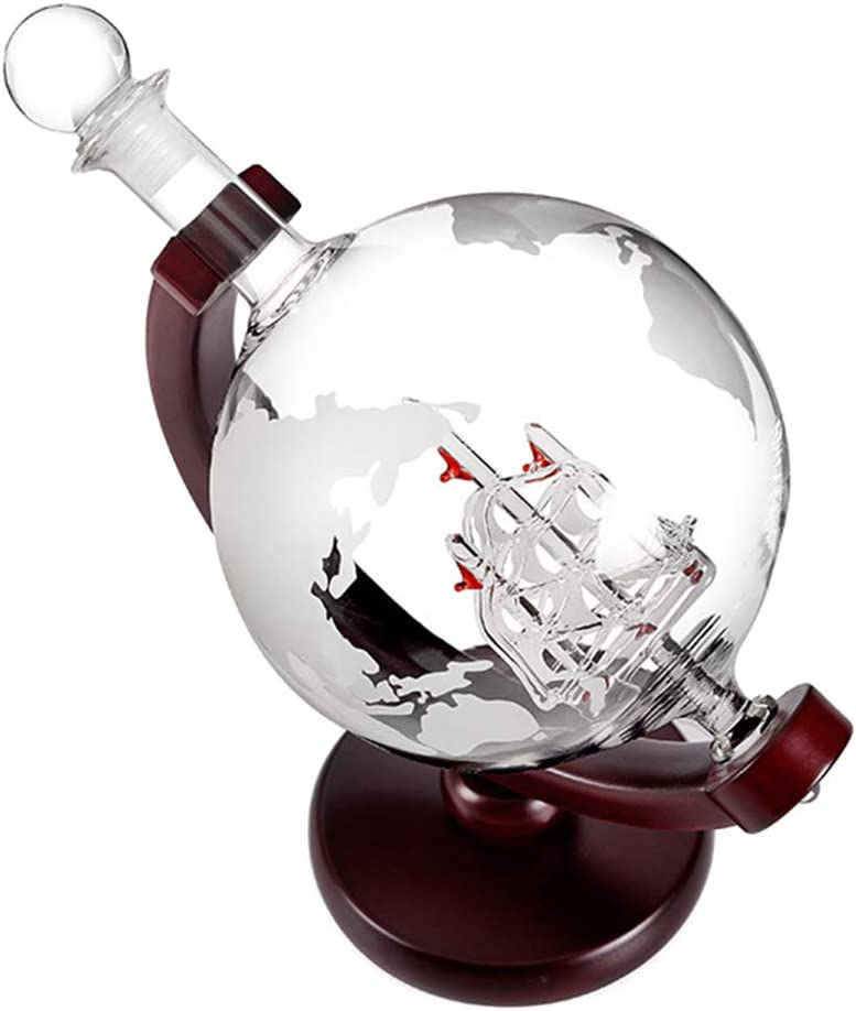 bottiglia di vetro da 0,9 litri 350 ml per decanter da 0,9 litri Canghai Caraffa da whisky da 900 ml e 2 bicchieri in vetro soffiato a bocca