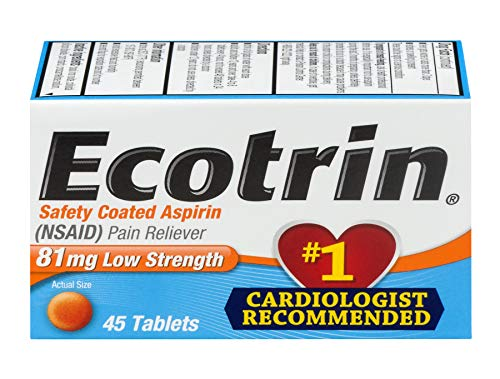(Ecotrin Low Strength Safety Coated Aspirin | NSAID | 81mg | 45 Tablets | 6 Pack)
