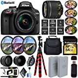 Nikon D3400 DSLR 24.2MP DX CMOS Camera AF-P 18-55mm VR Lens + LED Light kit + Wide Angle & Telephoto Lens + 7PC Filter Kit + Camera Case - International Version