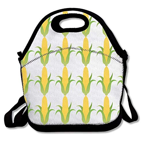 Vioceff Ear of Yellow Corn Insulated Lunch Bag Lunch Tote Bag Travel School Picnic Lunch Box with Adjustable Shoulder Strap for Work Kids Women Men