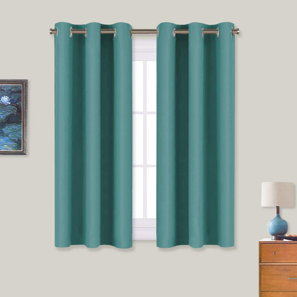 NICETOWN Window Curtain Panels, Thermal Insulated Solid Grommet Blackout Draperies/Drapes (Sea Teal, One Pair, 34 by 54-inch)