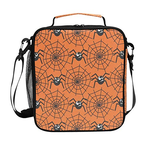 (Halloween Spider Webs Lunch Bag Womens Insulated Lunch Tote Containers Zipper Square Lunch Box for Kids)