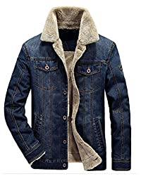 Mordenmiss Men's Long Sleeve Denim Jacket Coat with Front Pockets