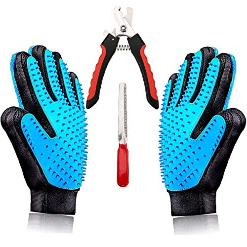 Best Gentle Pet Grooming Gloves & Professional Cat/Dog Nail Clippers Set - Left & Right Hand Glove Kit - Short & Long Hair Remover - Deshedding Tool for Dogs, Manual Safety Dog Nail Grinder