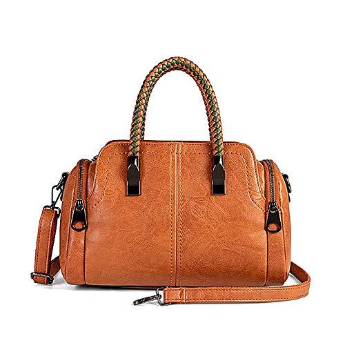 Women Boston Bags Top Handle Knit Satchel Handbags Faux Leather Shoulder Purse - Brown
