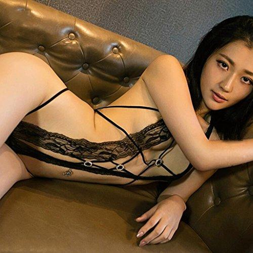 FLH Atractivo pijama de encaje de ropa interior Conjoined tres puntos apretado ropa interior Extremadamente tentador conjunto erogeno