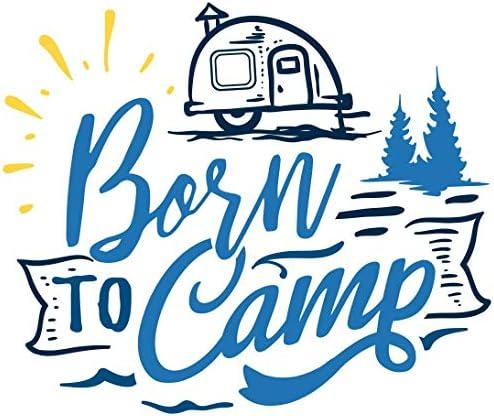 Samunshi Born to Camp Schriftzug Aufkleber Sticker Autoaufkleber Scheibenaufkleber Motorradaufkleber in 10 Größen (100x85cm hellblau)