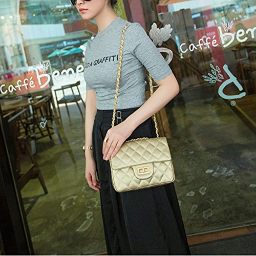 Bag Pu Borsa Oro Messenger Serratura Fibbia Catena Estate Crossbody Spalla Piccola Lingge Donne Mini Ufficio xU71qwpx