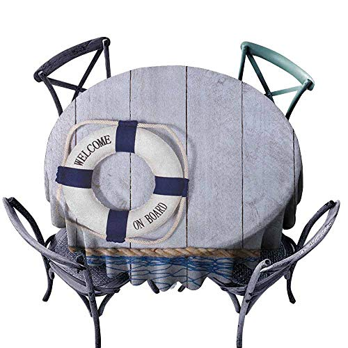 ScottDecor Wedding Round Tablecloth Christmas Tablecloth Buoy,Welcome on Board Greeting Message Holiday Seaman Sailing Maritime Theme, Taupe Cream Navy Blue Diameter 60
