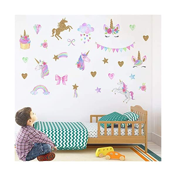 [2 PCS] Unicorn Wall Decals, Romantic Unicorn Wall Stickers Girls Bedroom, Unicorn Wall Stickers Decorations, Wall Decor with Clouds 8