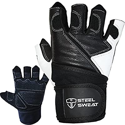 Steel Sweat Weightlifting Gloves with Wrist Wrap Support for Workout, Gym and Fitness Training - For Men and Women who love Weight lifting - Leather ZED