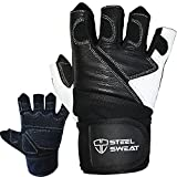 Steel Sweat Weightlifting Gloves with Wrist Wrap Support for Workout, Gym and Fitness Training - For Men and Women who love Weight lifting - Leather XL