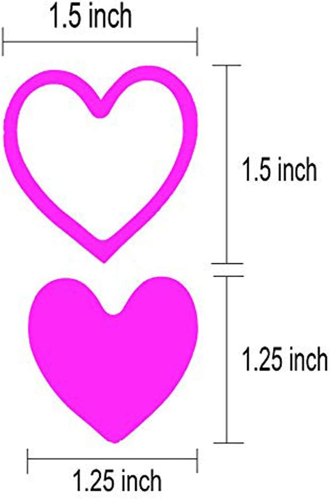 Art /& Craft Projects Sticker-Bombing /& Gift Wrappings 1.5,500PCS//Roll 3-Way Pink Love Heart Stickers,Removable Perforated Self Adhesive Hearts Shape Labels