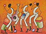 Tropical Creations Home Decor Wall Canvas Painting Hand Painted On Canvas 40'' W x 30'' H Africa Native African Caribbean Indian Tribe Orchestra Music Band Concert (Unframed) Canvas Wall Art 19