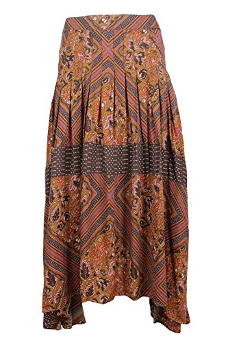 Free-People-Womens-Brown-Purple-Floral-Asymmetric-Hem-Pleated-Skirt