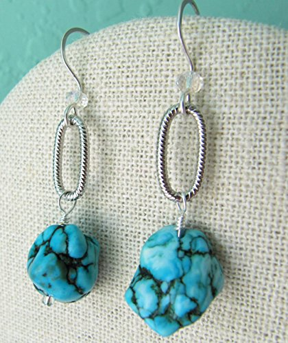 Turquoise Dyed Magnesite Nugget Earrings.. Western Glam with crystals & oval link accents, silver filled handmade earwires, Southwestern, one of a kind