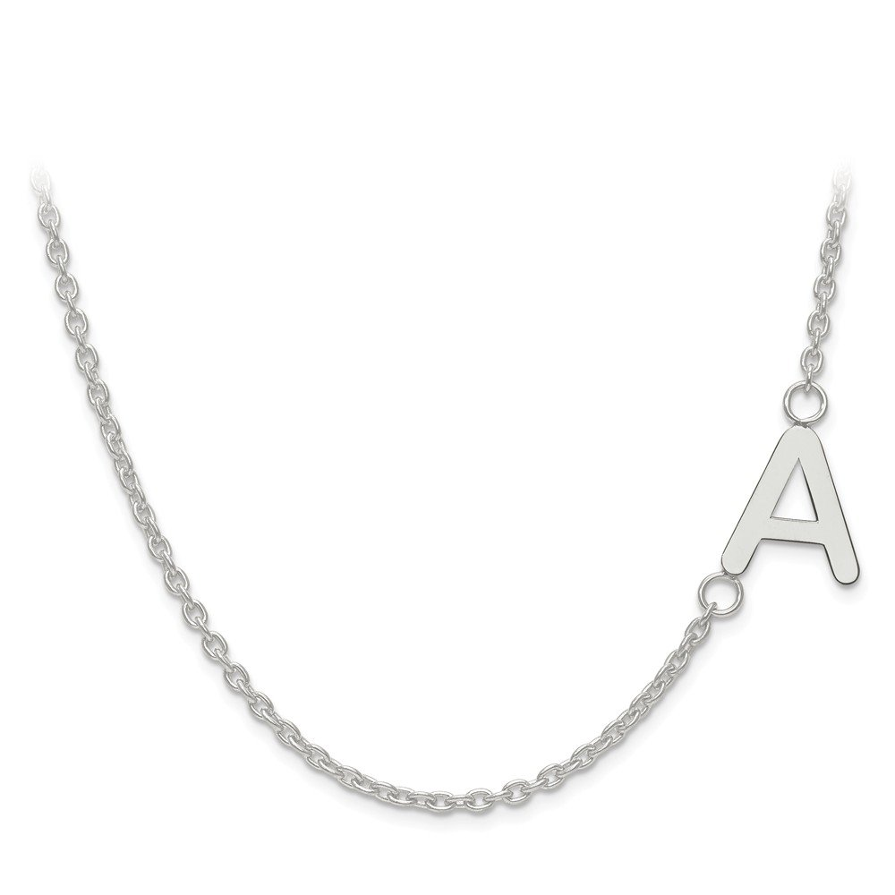 Jewelry Best Seller 14kw Laser Polished Sideways Letter Initial Offset Necklace w/ Chain
