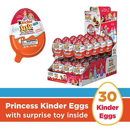 Kinder Joy Chocolate Candy Eggs with Limited Edition Disney Princess Toys, 30 Count, 21 oz -