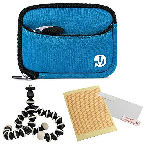 Camera Digital Exilim Pouch Case - VanGoddy Mini Glove Sleeve Pouch Case for Casio Exilim EX Series Digital Cameras (Sky Blue) + Screen Protector + Mini Tripod Stand