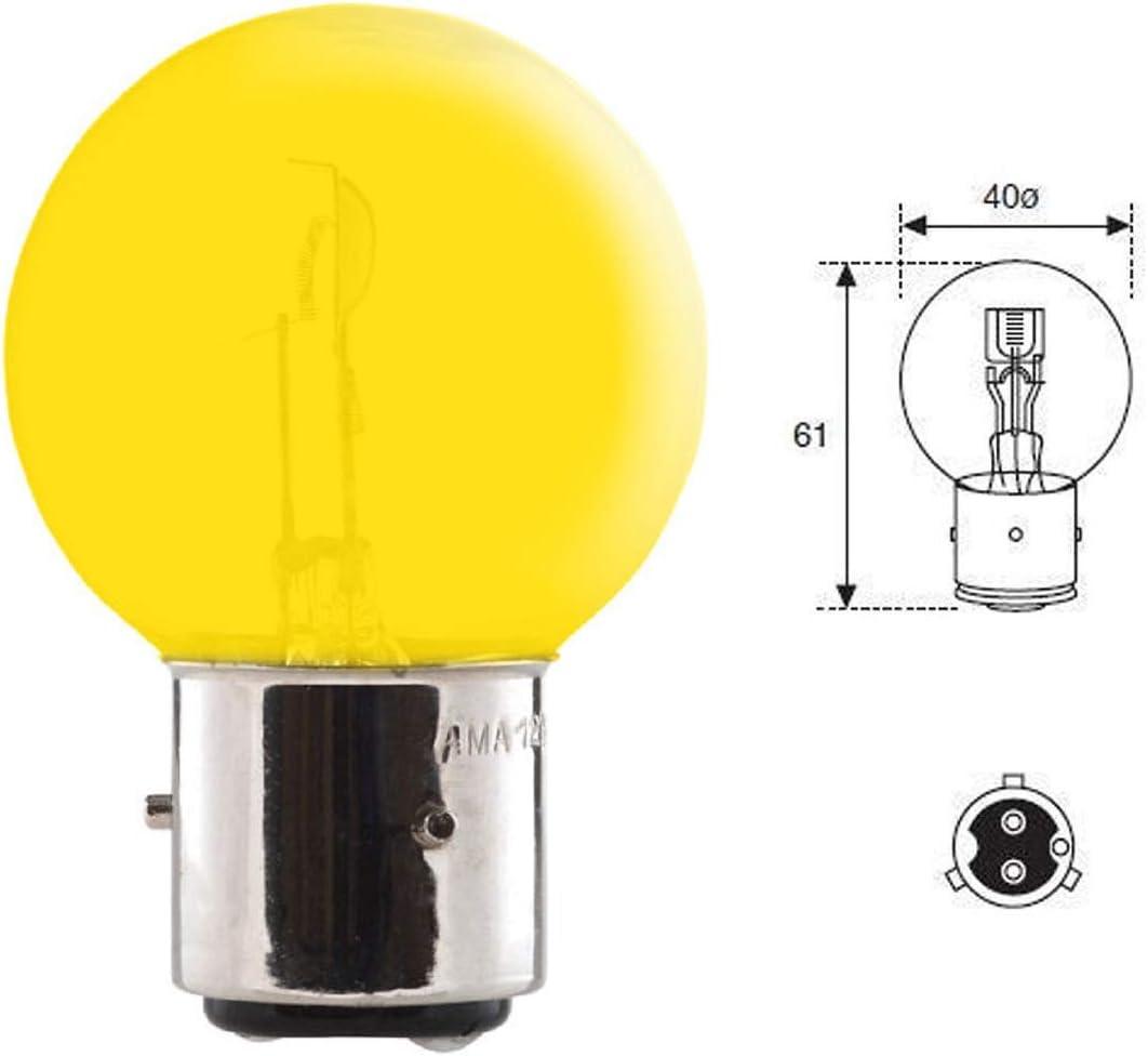 AMPOULE 12V 45//40W BA21D 3 ERGOTS 2 PLOTS JAUNE VOITURE COLLECTION TRACTEUR LAMPE PHARE