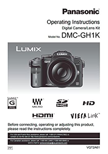 panasonic lumix dmc gh1k instruction booklet original english rh amazon com Panasonic GH1 Review Panasonic Lumix DMC-G2
