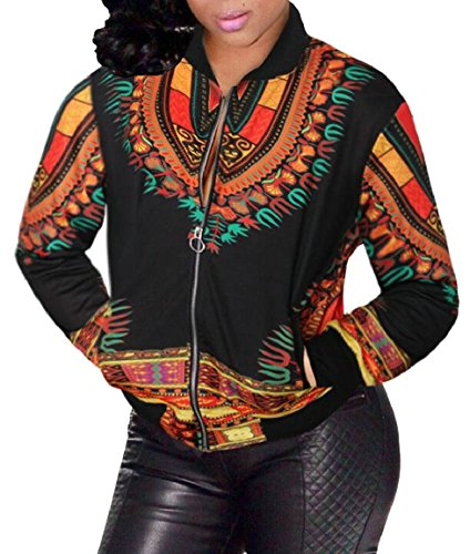 Jacket Short Top Coat Women's African Zipper Bomber security 3 Print qwZCxBqY