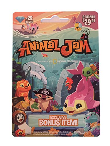 National Geographic Animal Jam Online Game Card - 25 Diamonds - 6 Month Membership - Kangaroo, Arctic Wolf, Snow Leopard or Lion by National Geographic