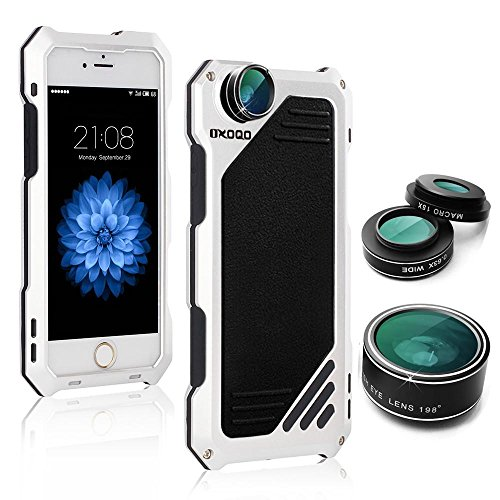 iPhone 6 Plus/6S Plus Camera Lens Kit, OXOQO 3 in 1 Fisheye + Macro + Wide Angle Camera Lens with Dustproof Shockproof Aluminum Case, Separate Screen Protector (Plus Screw)