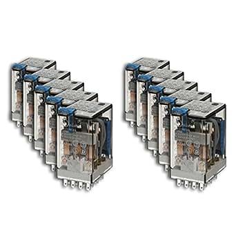 Finder 553490240094 - Relé industrial enchufable en zócalo 4 contactos 7 A - CC - 24 V con pulsador de prueba LED diodo (positivo en A1/13 CA polaridad estándar) e indicador mecánico21 x 28 x 38 cm AgNi transparente
