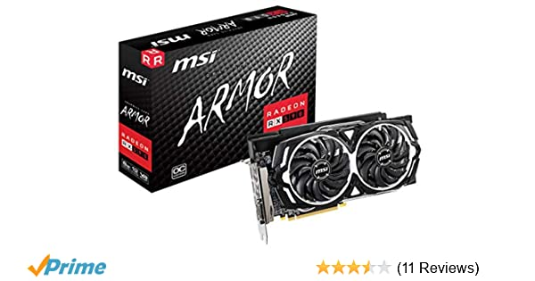 MSI Gaming Radeon Rx 590 256-Bit DP/HDMI/DVI 8GB GDRR5 HDCP Support DirectX  12 Dual Fan 2-Way Crossfire VR Ready Graphics Card (RX 590 Armor 8G OC)