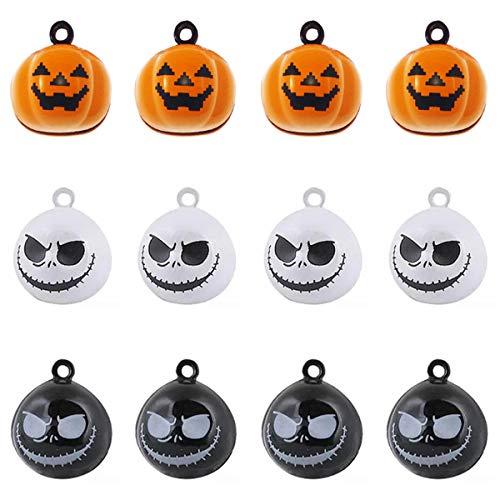 Cat Crafts For Halloween (VIIRY 12Pcs Pumpkin Bells Pet Collar Ghost Skull Bells,Halloween Decorations Ornament DIY Crafts Handmade Jewelry Findings Charms)