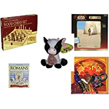 Children's Fun & Educational Gift Bundle - Ages 6-12 [5 Piece] - Classic Wood Folding Chess Set Game - Star Wars Episode 1 Movie Teaser Poster 300 Piece Puzzle - Sugarloaf Creations Looky Boo's Bla