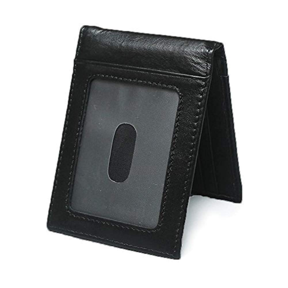 Money Clips RFID Wallet for Men - Jingleer Genuine Leather Slim Front Pocket Wallet with Clip and ID Card Holder