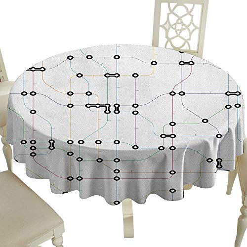 Printing Round Tablecloth 54 Inch Map,Colorful Thin Lines Metro Scheme Transportation Network Diagram Outline Urban City Life Multicolor Great for,Wedding & - Metro Pub Vinyl