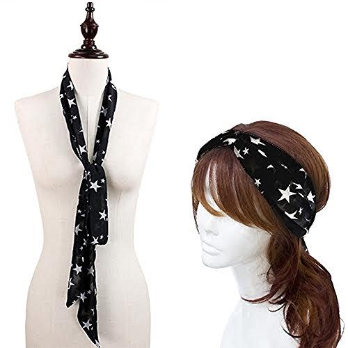 Print Skinny Headband (StylesILove Chic Star Print Headband Skinny Scarf, 2 Colors (Black))