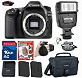 Canon EOS 80D Digital SLR Camera(no lens)Kit + Canon Battery + Canon charger + Extra High Capacity battery + 16g High Speed Memory Card + Canon Case + Deluxe Grip Strap + Electronic Slave Flash