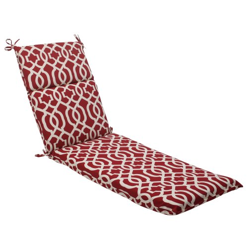 Pillow Perfect Indoor/Outdoor New Geo Chaise Lounge Cushion, Red Red Outdoor Chaise