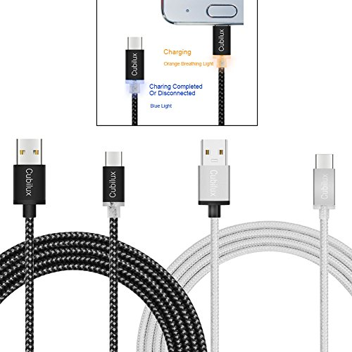USB C Cable 2-Pack, Cubilux Fast Charge And Data Sync Cable with LED Light Indication For Galaxy Note8 / S8 / S8 Plus, Google Pixel / Pixel2, LG G6 / G5 / V20 (6FT x 2, Deep Grey/Grey Nylon Braided)