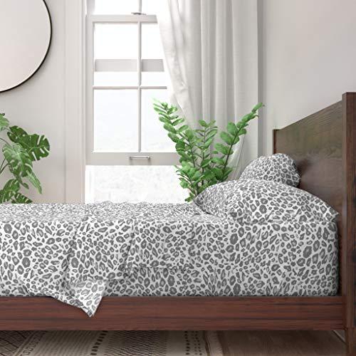 Roostery Sheet Set, Leopard Leopard Leopard Spots Cheetah Cheetah Animal Elegant Print, 100% Itallian Cotton Sateen Sheet Set, Queen (Cheetah Sheets Grey)