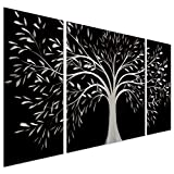 "Black and White Tree of Life Metal Wall Art - 50"" x 24"" Abstract Sculpture Artwork Decor - Decorative Modern Set of 3 Panels"
