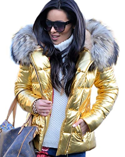 Color Sintética Golden Fina Para Chaqueta Cremallera Piel Capucha Con Aox Mujer Invierno De 7gnq8a